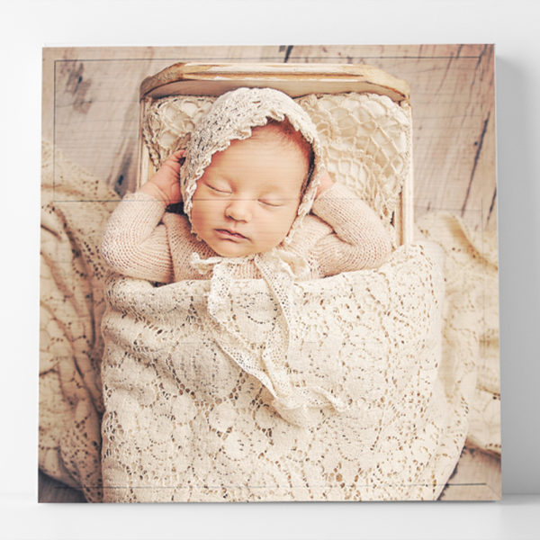 12x12 baby square photo printed on wood