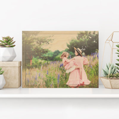14x10 Mother and daughter photo printed on wood Popular gift
