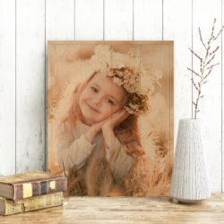 16x20 Little girl head shot photo printed on wood