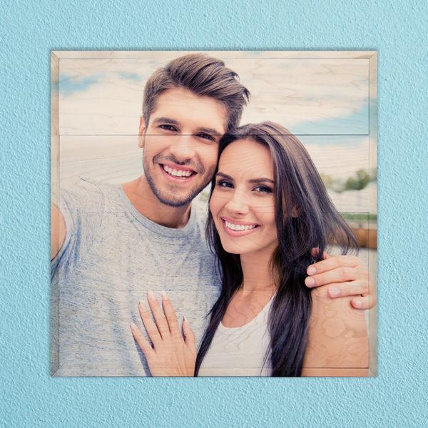 20X20 Couple selfie photo print on wood