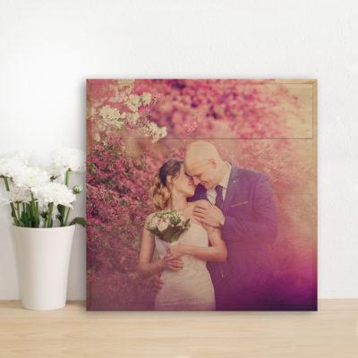 20X20 wedding photo print on wood