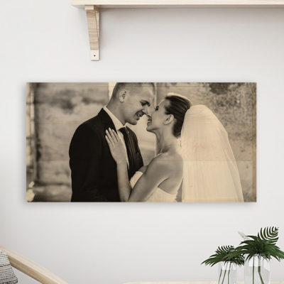 24x12 wedding photo wood print