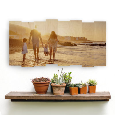 24x12 Family vacation staggered wood photo print