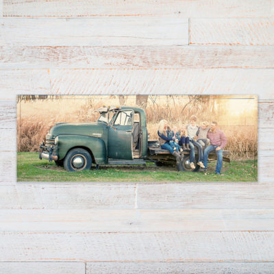 36x12 Family photo in vintage truck landscape photo printed on wood