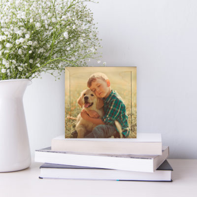 6x6 boy and dog photo printed on wood, gallery wall