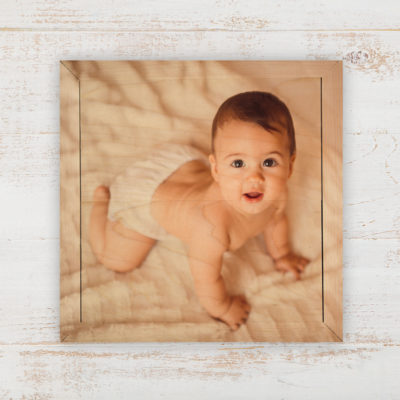 6x6 baby photo printed on wood, gallery wall