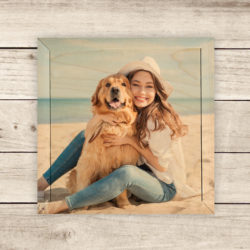 6x6 Girl and dog photo printed on wood, gallery wall