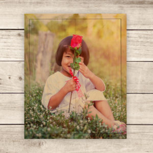8x10 Child and Flower Photo Wood Print