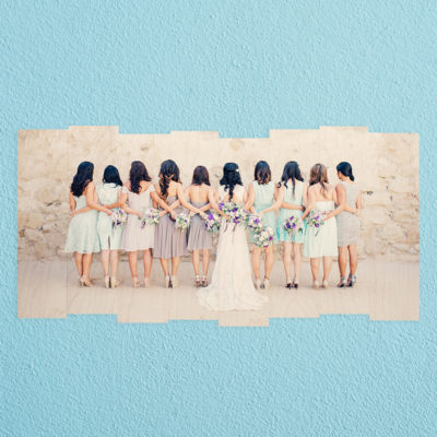 24x12 bridal party on a staggered wood photo print