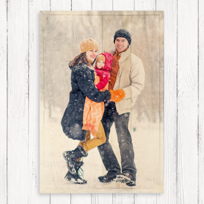 24x36 Family winter large photos wood print