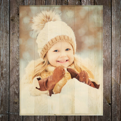 30x40 Little girl in snow large photo wood print