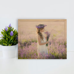 10x8 Little girl in field photo printed on wood