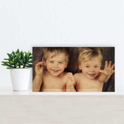 12x6 young brothers small photos printed on wood