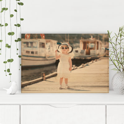 36x24 Little Girl on Dock Photo Wood Print Sample