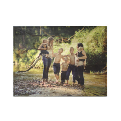 40x30 Kids in Creek Photo Wood Print