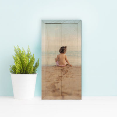 6x12 Baby on beach photo wood print