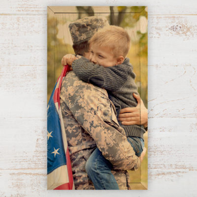 6x12 Army Dad and son hugging photo wood print