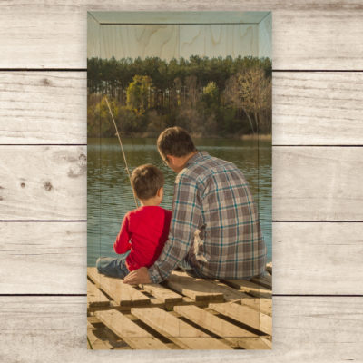 6x12 Father and son on dock photo wood print