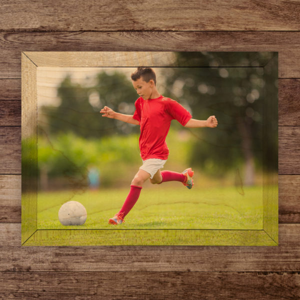 7x5 boy playing soccer wood photo print