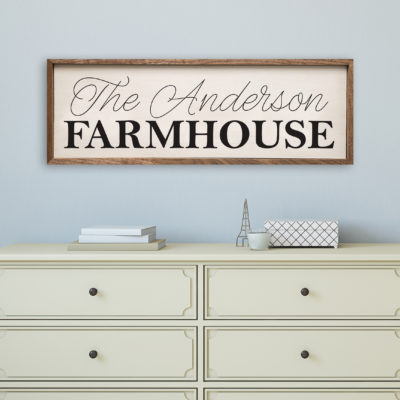 12x4 and 24x8 and 36x12 Custom Name Farmhouse Wood Sign Wood Print