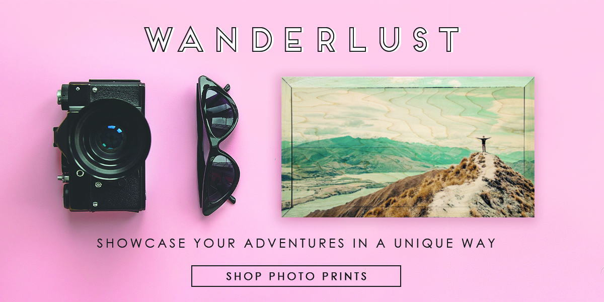 Wanderlust featuring 12x6 vacation picture printed on wood