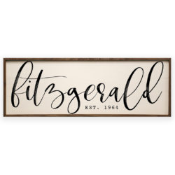 36x12 Custom Caligraphy Wood Sign - Fitzgerald