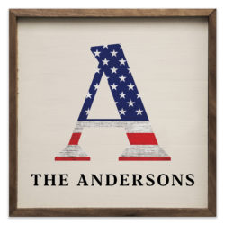 Personalized Flag Letter and Name 12x12 and 20x20 Andersons